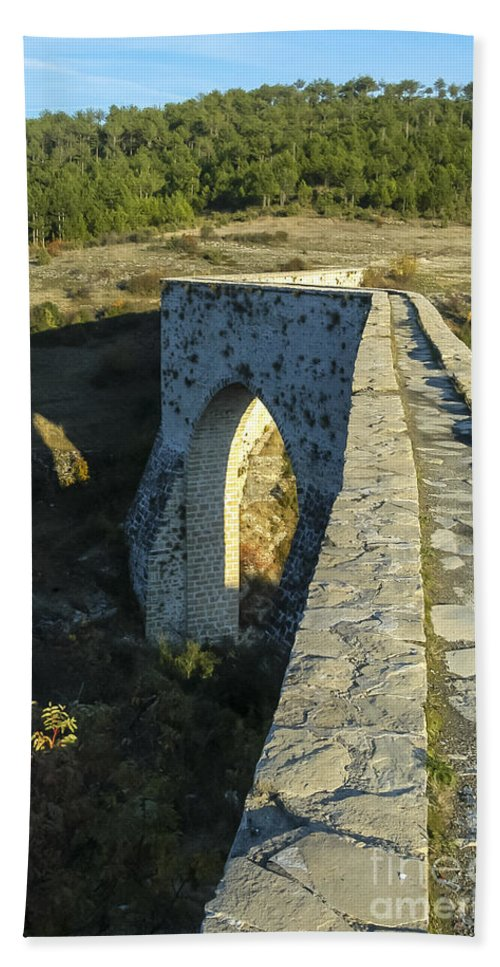 Incekaya Aqueduct Structure Structures Architecture Tree Trees Landscape Landscapes Bath Sheet featuring the photograph Incekaya Aqueduct by Bob Phillips