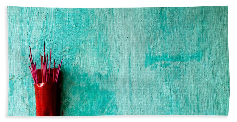 Red Bath Sheet featuring the photograph Incense 05 by Rick Piper Photography
