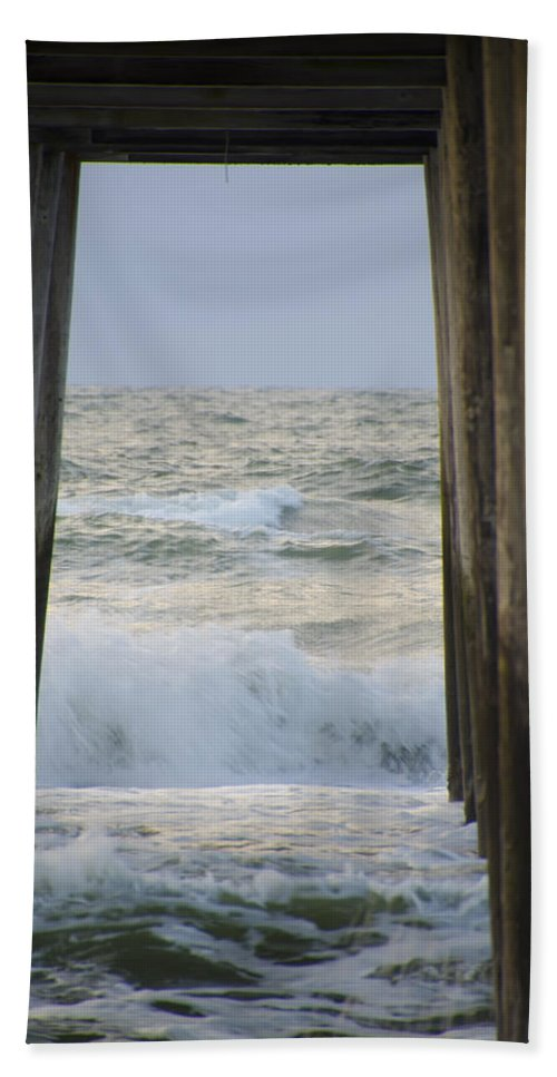 Sunrise Bath Sheet featuring the photograph Incoming Tide At 32nd Street Pier Avalon New Jersey by Bill Cannon