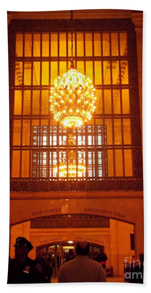 Grand Central Hand Towel featuring the photograph Incredible Art Nouveau Antique Grand Central Station - New York by Miriam Danar