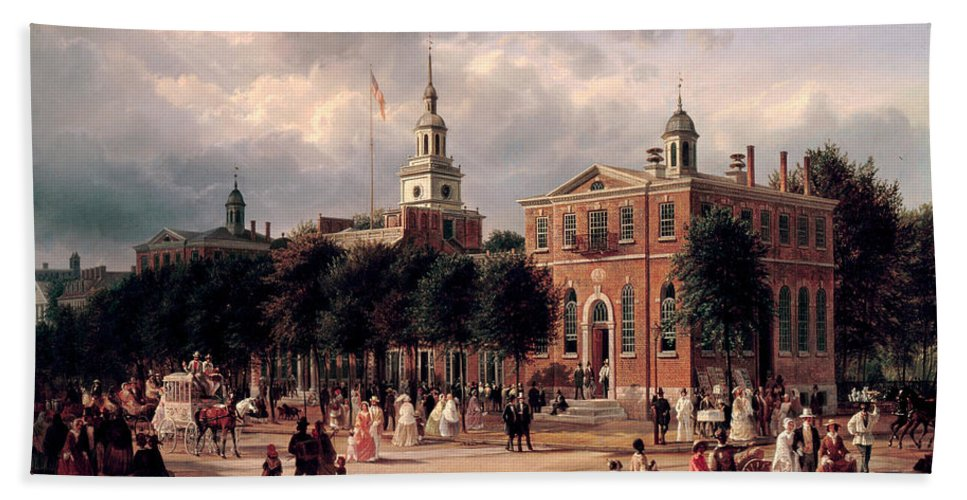 Ferdinand Richardt Hand Towel featuring the painting Independence Hall In Philadelphia by Ferdinand Richardt