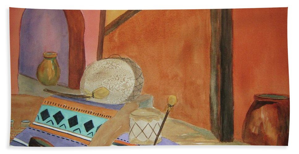Still Life Bath Sheet featuring the painting Indian Blankets Jars And Drums by Ellen Levinson