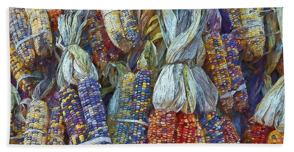 Indian Corn Bath Sheet featuring the photograph Indian Corn - Fall Colors by Rebecca Korpita