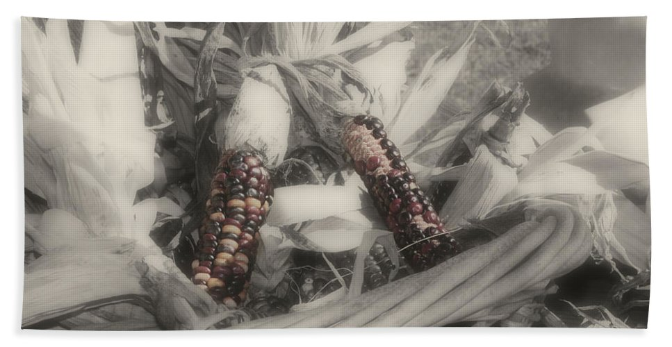 Black And White Bath Sheet featuring the photograph Indian Corn In Basket Partial Color by Smilin Eyes Treasures