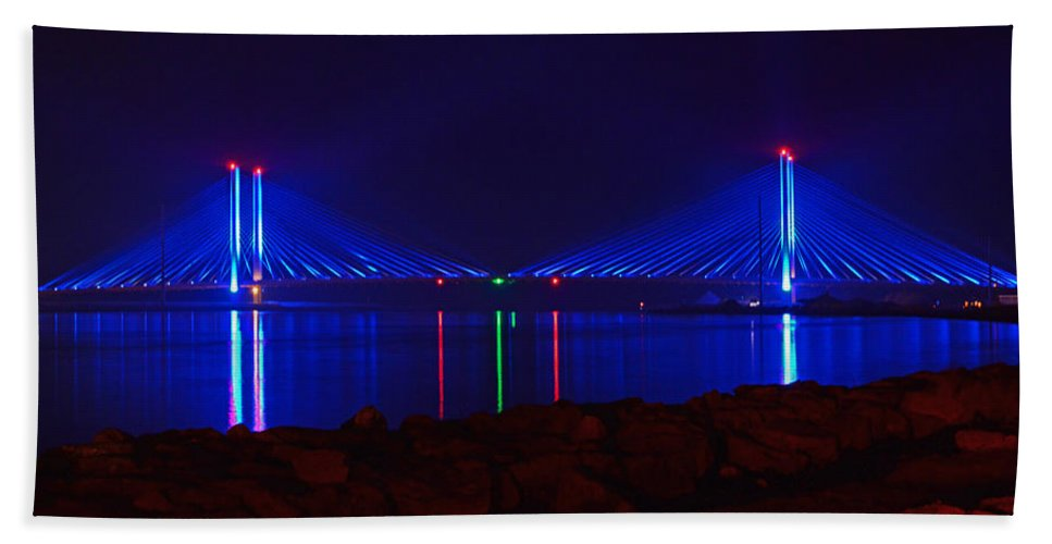 Indian River Bridge Hand Towel featuring the photograph Indian River Inlet Bridge After Dark by Bill Swartwout Fine Art Photography