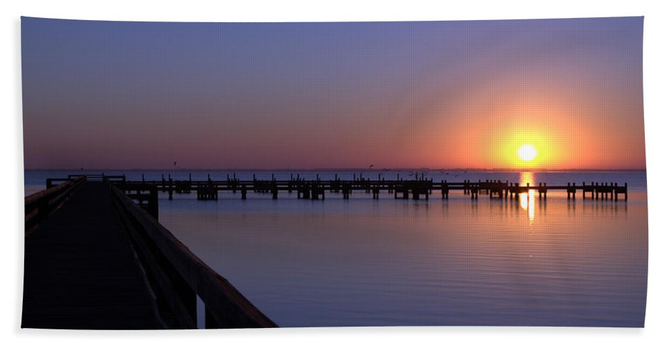 Indian River Sunrise Hand Towel featuring the photograph Indian River Sunrise by Brian Harig