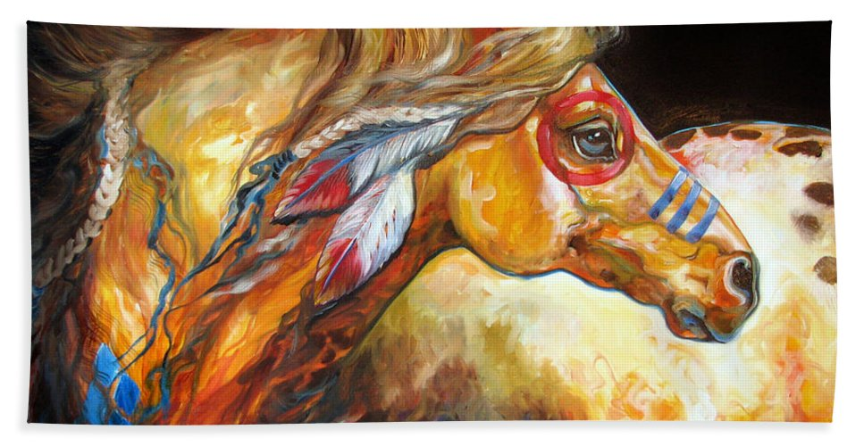 Horse Hand Towel featuring the painting Indian War Horse Golden Sun by Marcia Baldwin