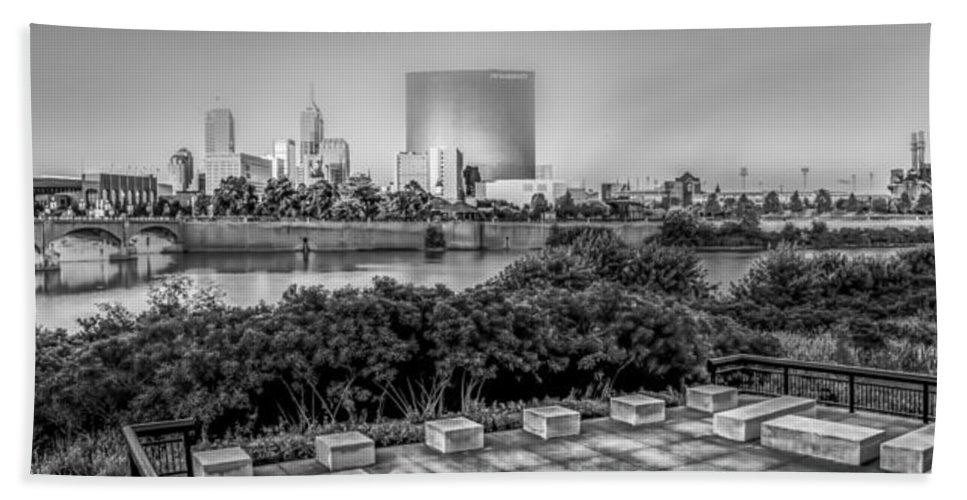 Indiana Bath Sheet featuring the photograph Indiana - Downtown From Across White River Panoramic by Ron Pate