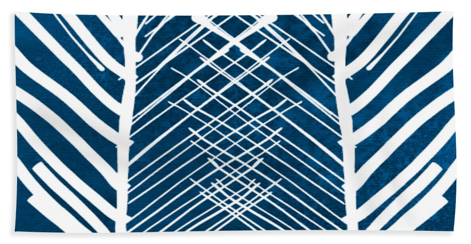 Leaves Hand Towel featuring the painting Indigo And White Leaves- Abstract Art by Linda Woods