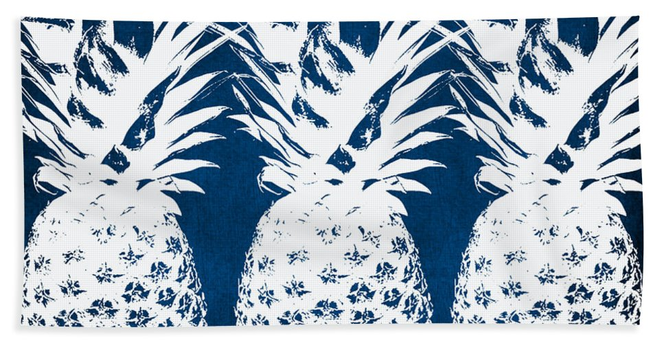 Indigo Bath Towel featuring the painting Indigo and White Pineapples by Linda Woods