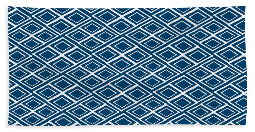 Indigo And White Bath Towel featuring the painting Indigo And White Small Diamonds- Pattern by Linda Woods
