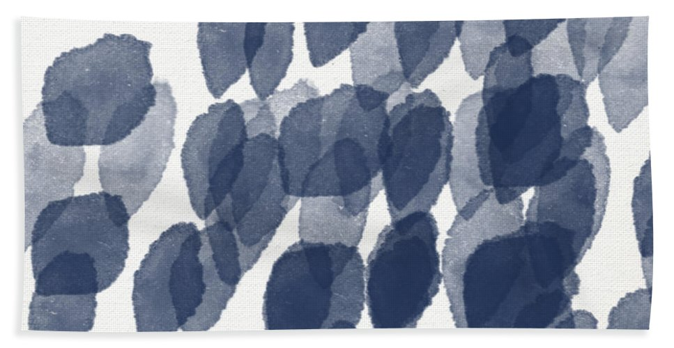 Abstract Painting Hand Towel featuring the mixed media Indigo Rain- abstract blue and white painting by Linda Woods