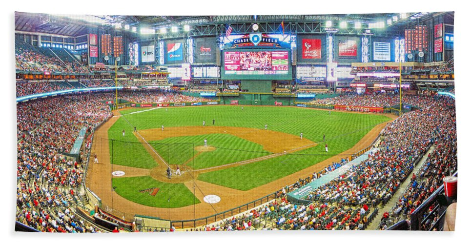 Chase Field Hand Towel featuring the photograph Indoors At Chase Field by C H Apperson