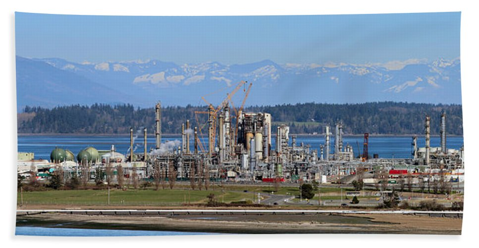 Auto Bath Sheet featuring the photograph Industrial Refinery by Paul Fell