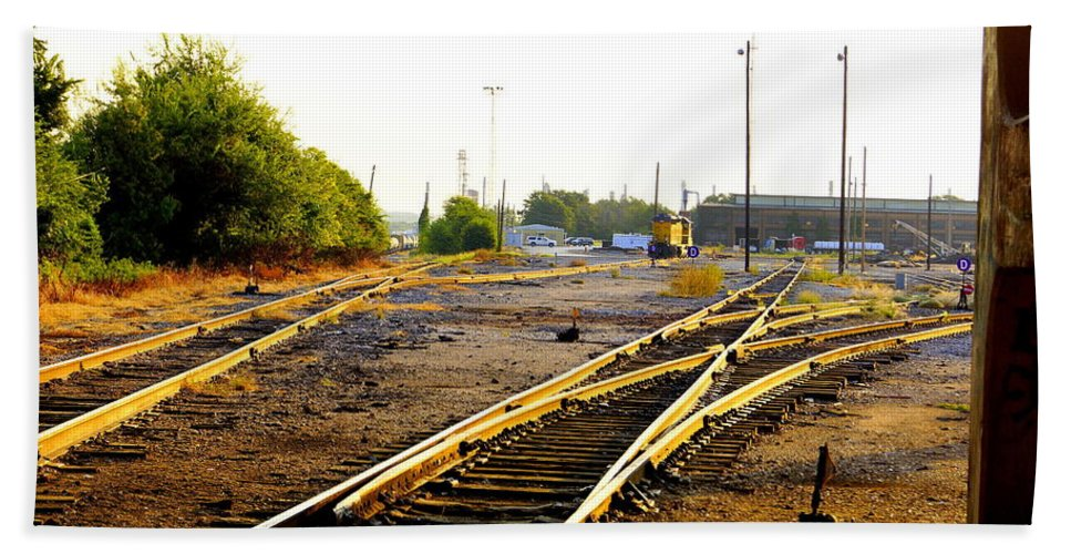Tracks Bath Sheet featuring the photograph Industrial Tracks II by Darrell Clakley