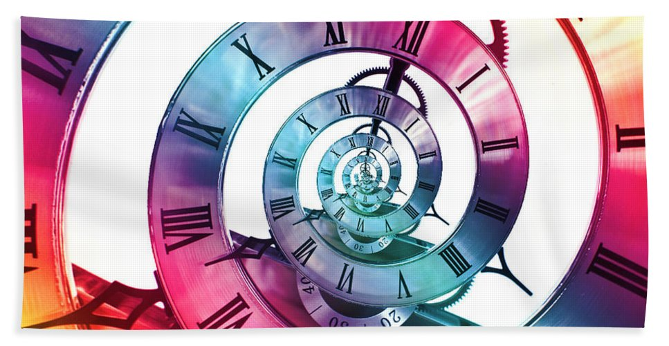 Clock Face Hand Towel featuring the photograph Infinite Rainbow 2 by Steve Purnell