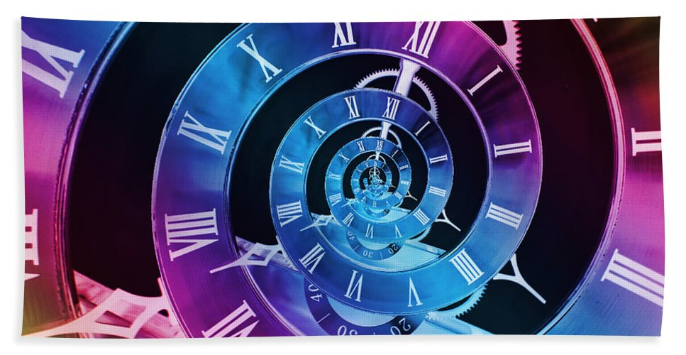 Clock Face Hand Towel featuring the photograph Infinite Time Rainbow 1 by Steve Purnell