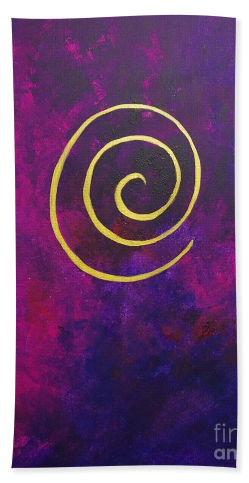 Infinity Bath Sheet featuring the painting Infinity - Deep Purple With Gold by Philip Bowman