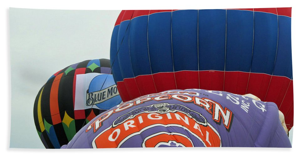 Hot Air Balloons Bath Sheet featuring the photograph Inflating by Jamie Smith
