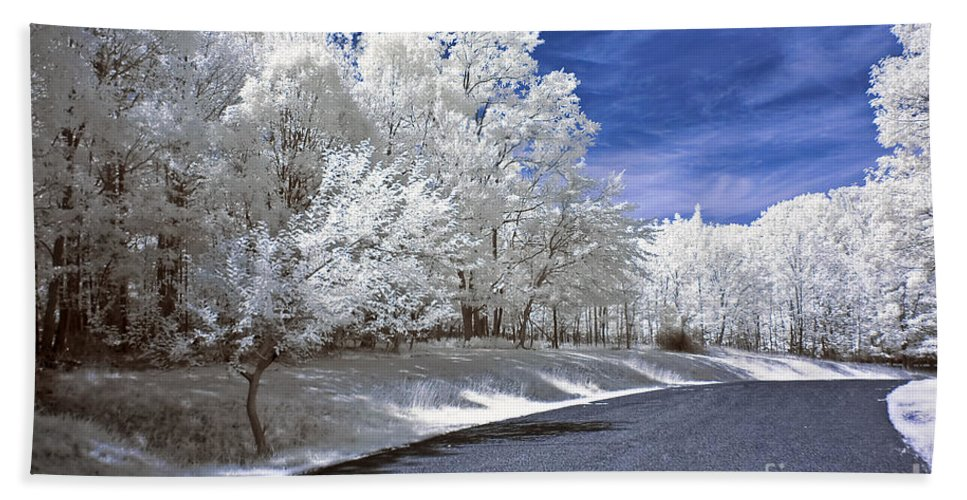 Landscape Bath Sheet featuring the photograph Infrared Road by Anthony Sacco