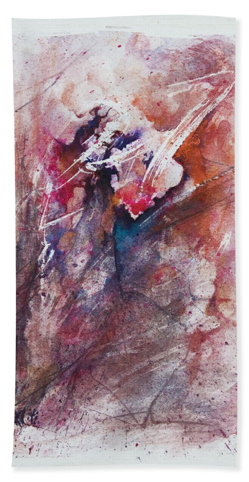 Abstract Hand Towel featuring the painting Inner Conflict by Rachel Christine Nowicki