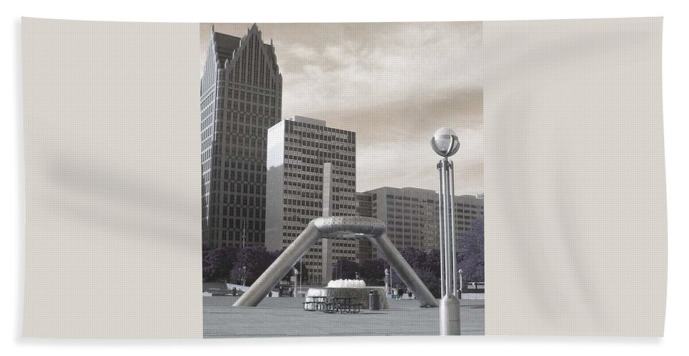Hart Plaza Bath Sheet featuring the photograph Inner Void Of Hard Plaza Phase 2 by Crystal Hubbard
