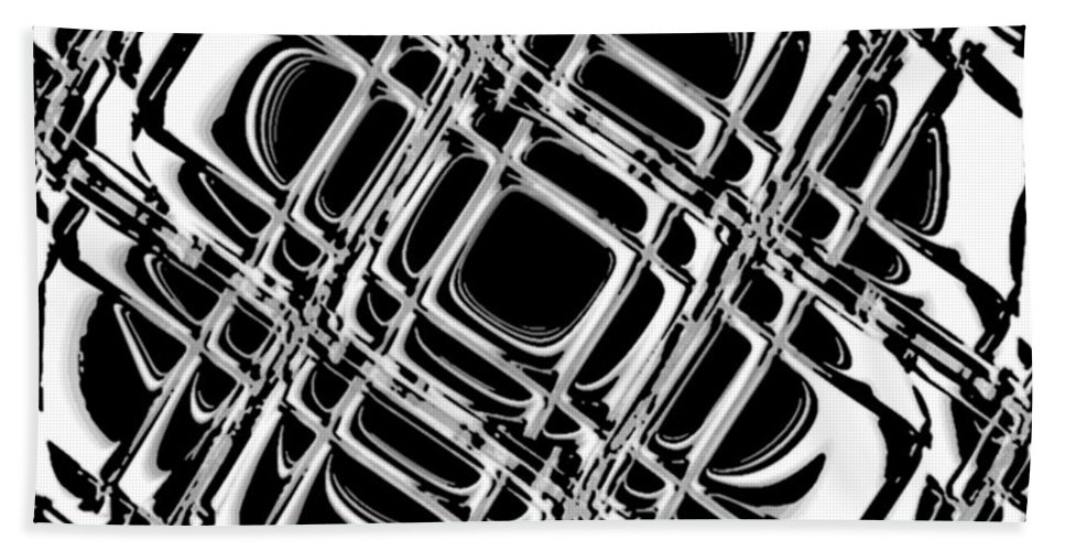 Black And White Bath Towel featuring the digital art Inner Workings by Pharris Art