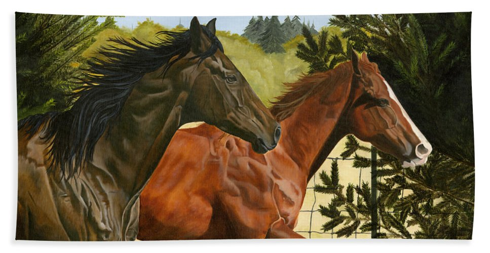 Horse Bath Towel featuring the painting Inseparable by Jolene Scott