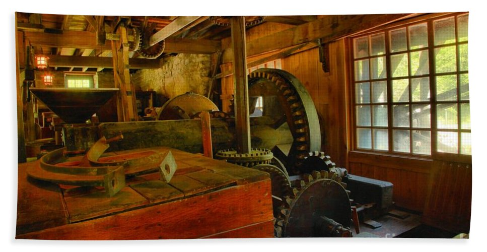 Grist Mill Gears Bath Sheet featuring the photograph Inside A Grist Mill by Adam Jewell