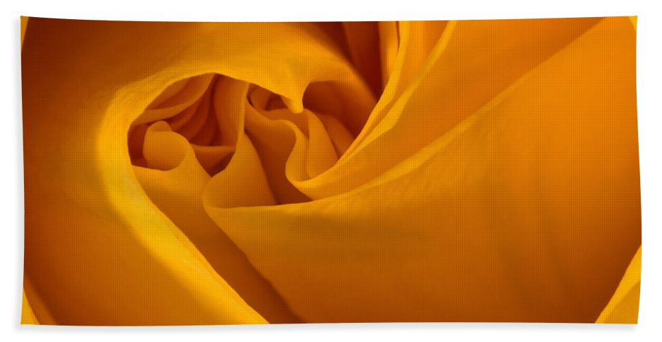 Rose Hand Towel featuring the photograph Inside A Yellow Rose by Onyonet Photo Studios