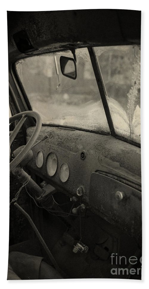 Automobile Bath Sheet featuring the photograph Inside An Old Junker Car by Edward Fielding