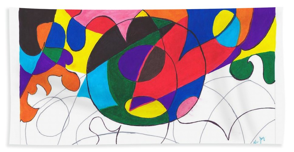 Abstract Hand Towel featuring the painting Inside And Outside The Circle by Myrtle Joy