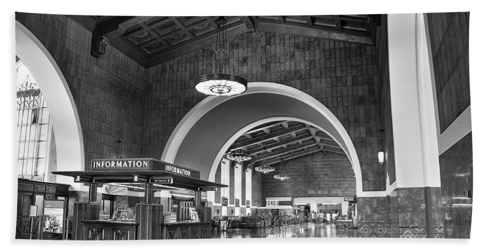 Black And White Los Angeles Union Station Hand Towel featuring the photograph Inside Los Angeles Union Station In Black And White by Richard Cheski