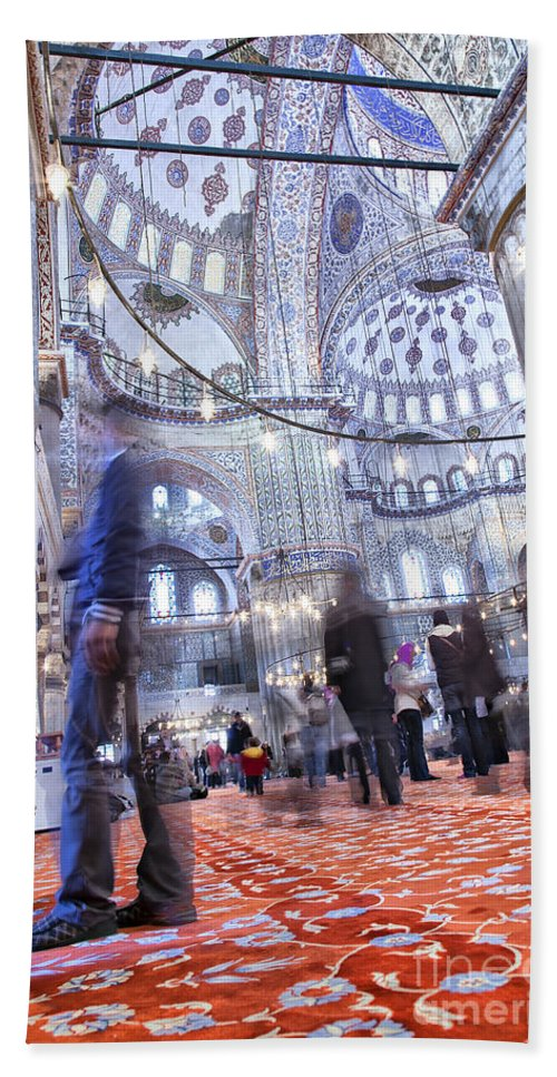 Blue Bath Sheet featuring the photograph Inside The Blue Mosque by Sophie McAulay