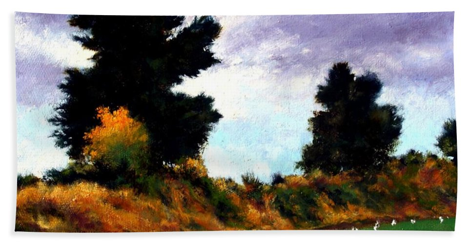 Landscape Hand Towel featuring the painting Inside the Dike by Jim Gola