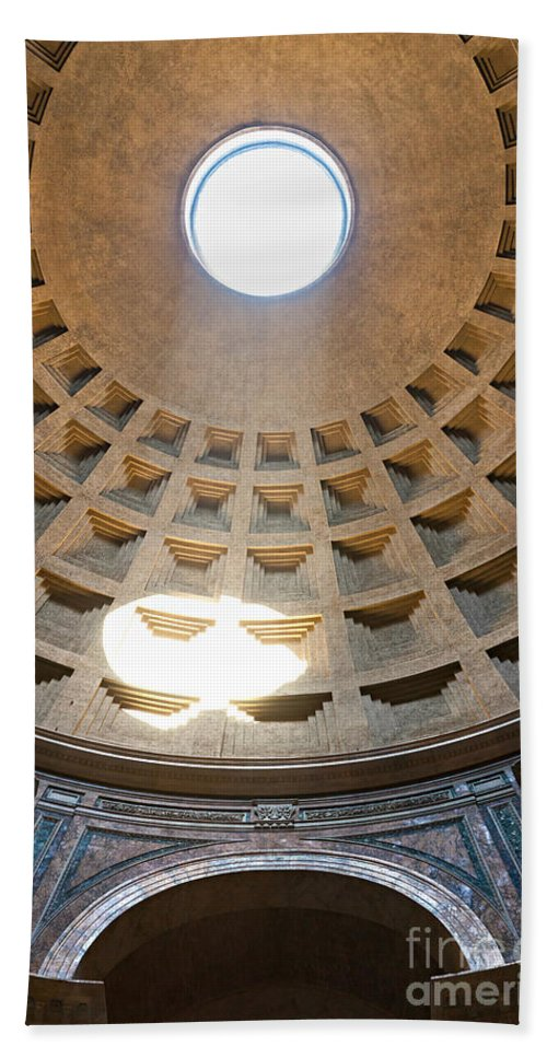 Amphitheater Bath Sheet featuring the photograph Inside The Pantheon - Rome - Italy by Luciano Mortula