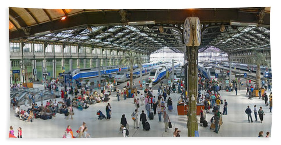Photography Hand Towel featuring the photograph Inside Train Station, Nice, France by Panoramic Images