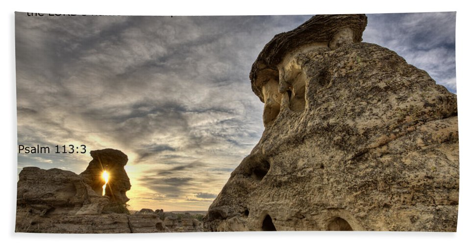Stone Hand Towel featuring the photograph Inspirational Hoodoo Badlands Alberta Canada by Mark Duffy