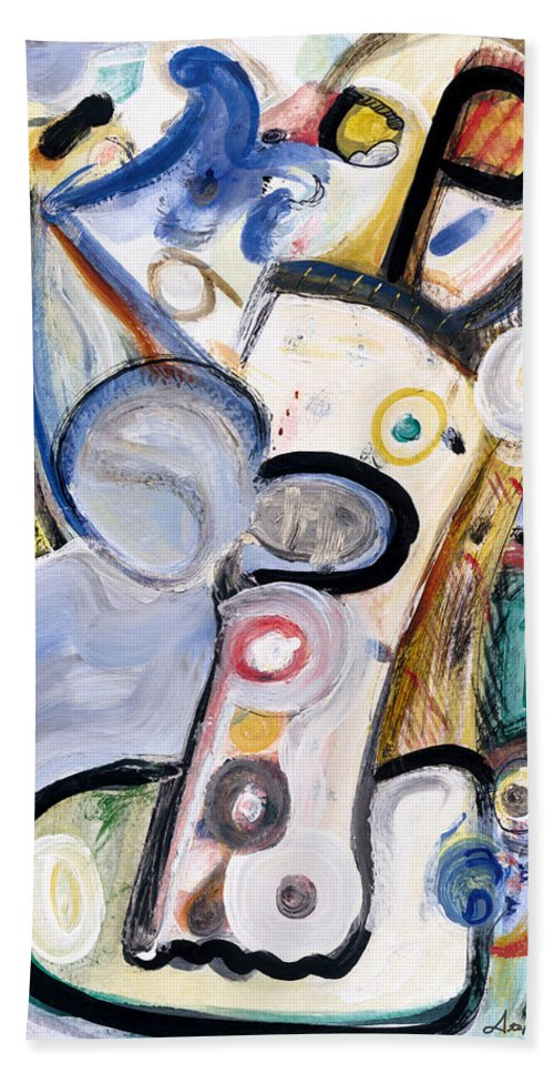 Abstract Art Bath Sheet featuring the painting Intellect by Stephen Lucas