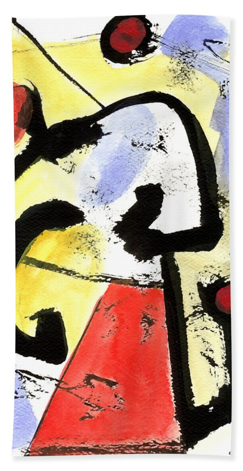 Abstract Art Hand Towel featuring the painting Intense And Purpose 1 by Stephen Lucas