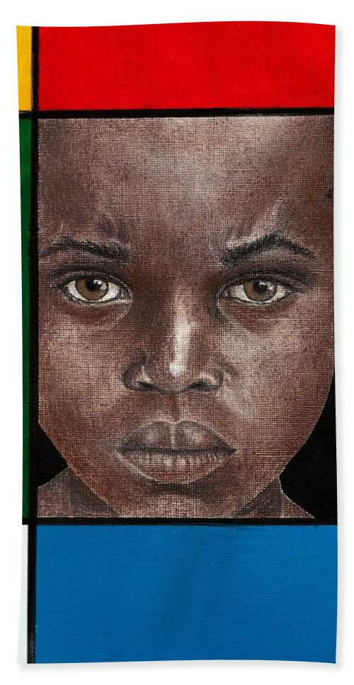 African American Artwork Hand Towel featuring the mixed media Intense by Edith Peterson-Watson