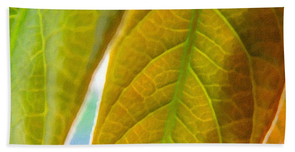 Leaves Hand Towel featuring the photograph Interesting Leaves - Digital Painting Effect by Rhonda Barrett