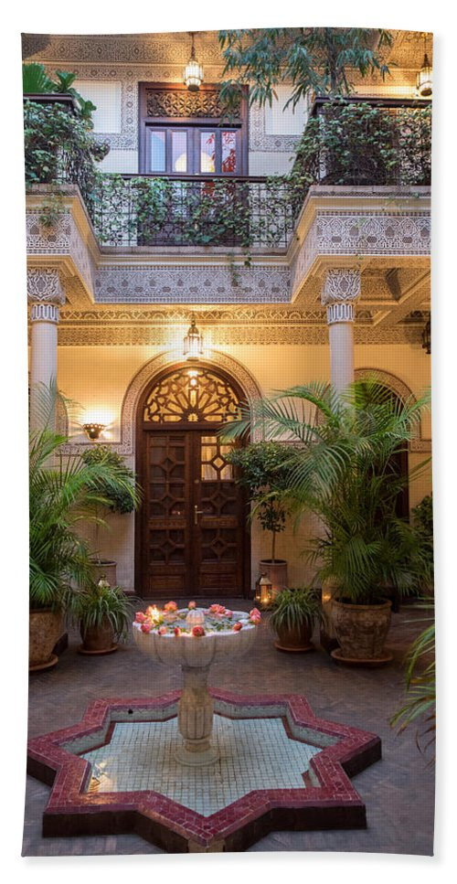 Photography Hand Towel featuring the photograph Interior Courtyard Of Villa Des by Panoramic Images