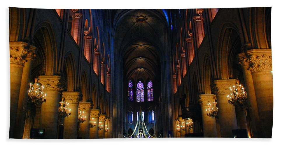 God Hand Towel featuring the photograph Interior Of Notre Dame De Paris by Dany Lison