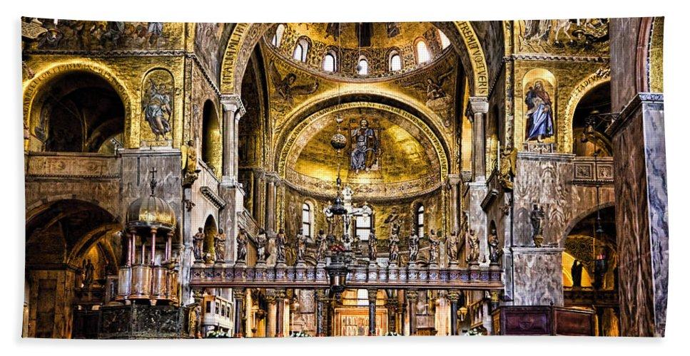Venice Italy Bath Sheet featuring the photograph Interior St Marks Basilica Venice by Jon Berghoff
