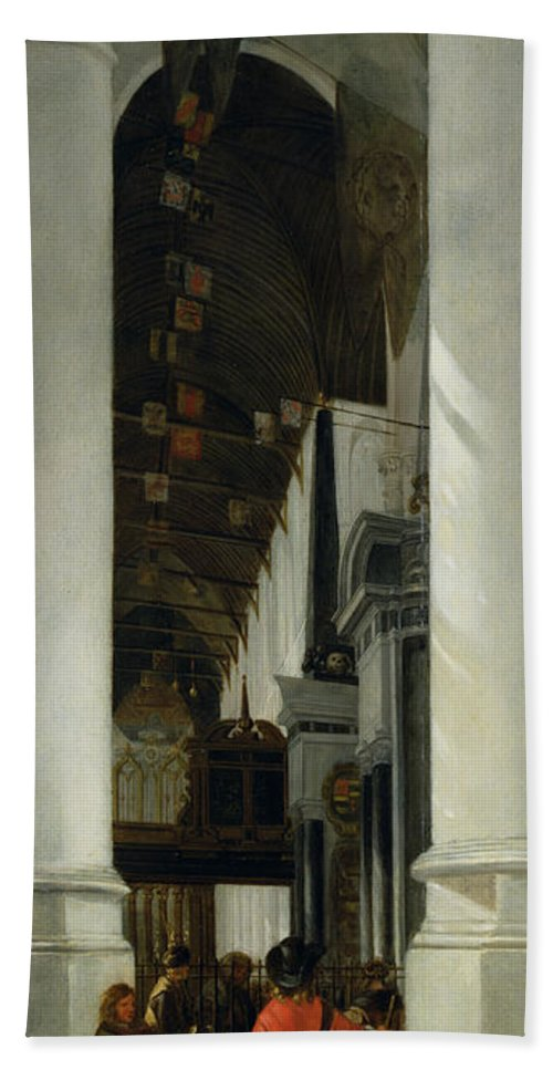 Interior View Of The New Church In Delft Hand Towel featuring the painting Interior View Of The New Church In Delft by Emanuel de Witte