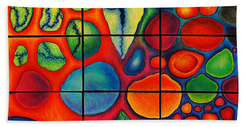 Colored Pencil Bath Sheet featuring the drawing Internalscape Journey I by Nancy Mueller