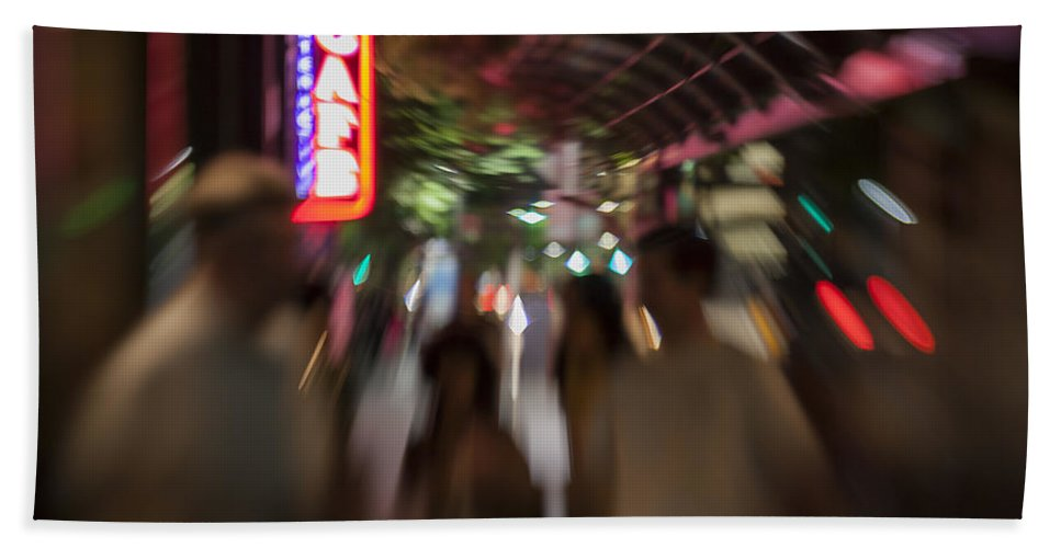 Award Winning Hand Towel featuring the photograph International Cafe Neon Sign And Street Scene At Night Santa Monica Ca Landscape by Scott Campbell