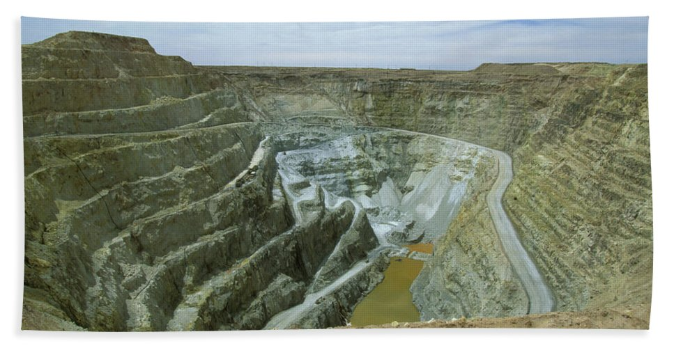Altiplano Bath Sheet featuring the photograph Inti Raymi Gold Mine Quarry In Oruro by Anders Ryman