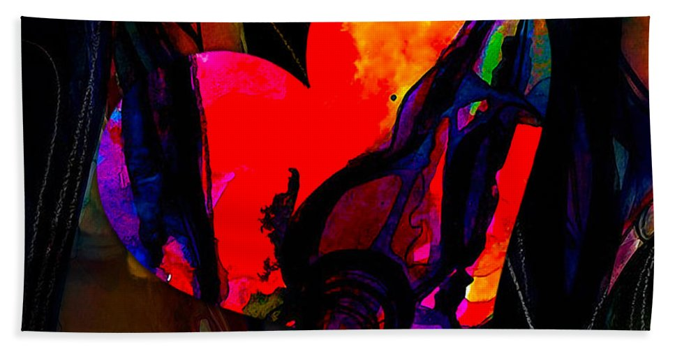 Heart Mixed Media Hand Towel featuring the mixed media Intimacy by Marvin Blaine